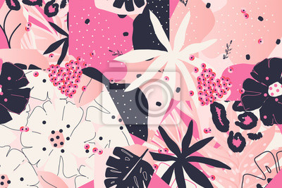 Modern Leopard pattern design with flowers. Good for t-shirt textile graphic design, wallpaper, wrapping paper. Fashionable template for design.