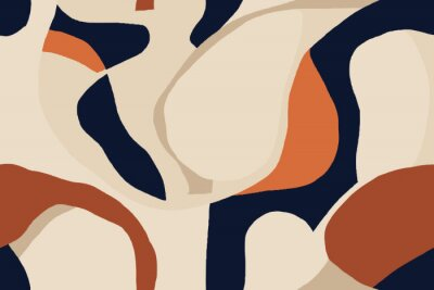 Modern minimal illustration pattern. Creative collage with shapes. Seamless pattern. Fashionable template for design.