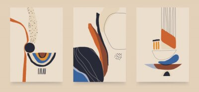 Modern minimalist abstract aesthetic illustrations. Contemporary wall decor. Collection of creative artistic posters.