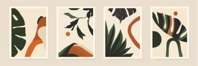 Modern minimalist abstract aesthetic illustrations with plants. Contemporary wall decor. Collection of creative artistic posters.
