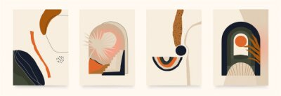 Modern minimalist mystical aesthetic illustration. Beautiful bohemian print set. Collection of contemporary artistic posters.