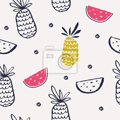 Modern summer pattern with fruits. Vector illustration.