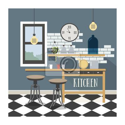 Poster Moderne Küche Interieur im Loft-Stil.