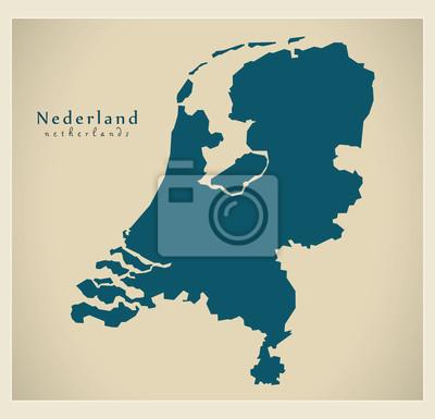 Niederlande Karte Umriss.Poster Moderne Landkarte Niederlande Nl