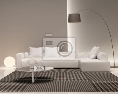 Poster Moderne Minimal Weiß Und Beige Wohnzimmer