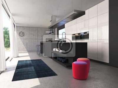 Moderne offene küche wandposter • poster Zufall, Schemel, Teppich ...