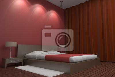 Poster Moderne Schlafzimmer Mit Roten Wand