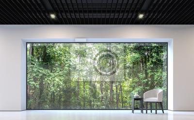 Poster Moderne Schwarz Weiß Wohnzimmer Mit Blick Auf Den Wald 3D Rendering