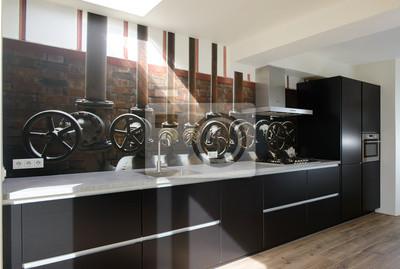 moderne schwarze k che mit einem photowall einer alten industrie szene wandposter poster. Black Bedroom Furniture Sets. Home Design Ideas