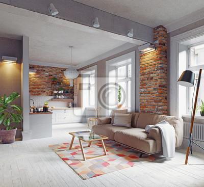 Moderne Wohnung moderne wohnung interieur wandposter • poster appartment, minimal