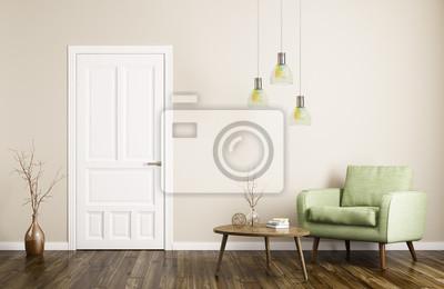 Wohnzimmer Tür, moderne wohnzimmer interieur mit tür und sessel 3d-rendering, Design ideen