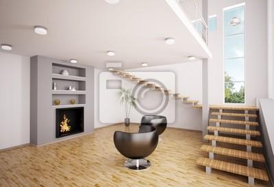 Poster Moderne Wohnzimmer Mit Kamin Interior 3d Render