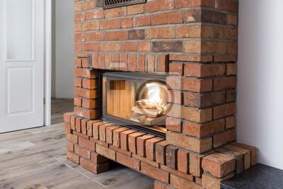moderner kamin oder ofen wandposter poster energieeffizienz klinker feuerstelle