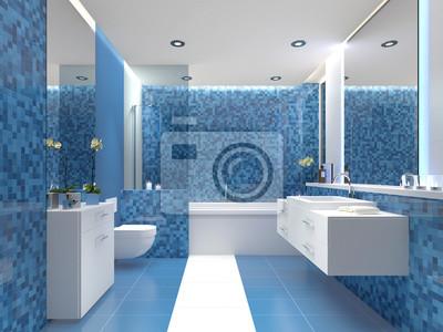 Modernes bad badezimmer mit farbigen fliesen blau weiss wandposter ...