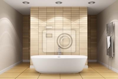 Poster: Modernes badezimmer mit beige fliesen an wand und boden
