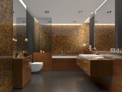 Modernes badezimmer mit gold, grau und warmen fliesen ...