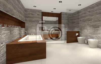 Modernes Badezimmer Mit Holz Und Stein Badezimmer Wandposter
