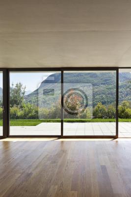Poster Modernes Haus Aus Beton Mit Parkett Grosse Fenster