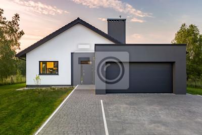 Super Modernes haus mit garage wandposter • poster die Landschaft OC23