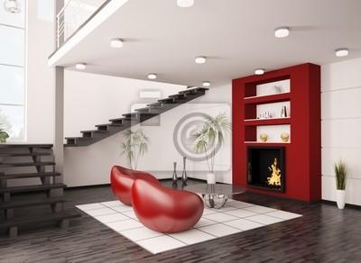 Poster: Modernes interieur wohnzimmer mit kamin und treppe 3d render