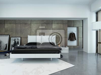 Modernes luxus schlafzimmer mit bett wandposter • poster Innenräume ...