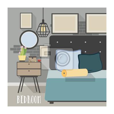 Poster Modernes Schlafzimmer Interieur im Loft-Stil.