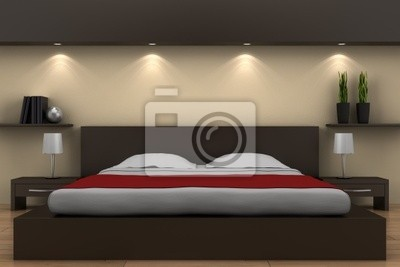 Poster Modernes Schlafzimmer Mit Bett Braun Und Beige Wand