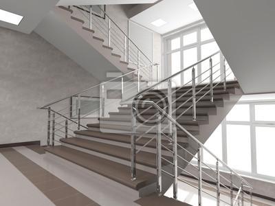 Modernes Treppenhaus Mit Glasfenster Wandposter Poster Innenraume