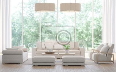 Poster Modernes Weißes Wohnzimmer Im Wald 3D Rendering Image.There Ist Ein  Großes Sofa