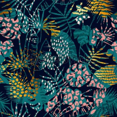 Poster Modisches nahtloses exotisches Muster mit tropischen Pflanzen und Tierdrucken. Vektor-illustration Moderner abstrakter Entwurf für Papier, Tapete, Abdeckung, Gewebe, Innendekoration und andere Benutze
