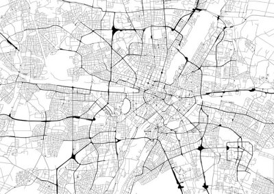 Poster Monochrome city map with road network of Munich