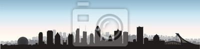 Montreal city, Canada skyline. Cityscape panoramic silhouette with famous buildings.