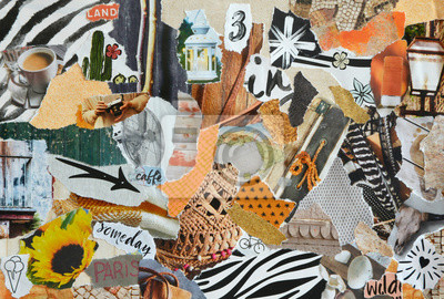 Poster Mood board collage in nature summer style made of teared waste recycling paper results in art