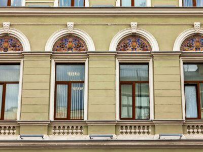 Moscow, Russia, June 15, 2020. A fragment of a typical facade in the historic city