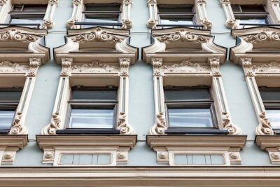 Moscow, Russia, June 15, 2020. Myasnitskaya street, fragment of the facade of a typical building