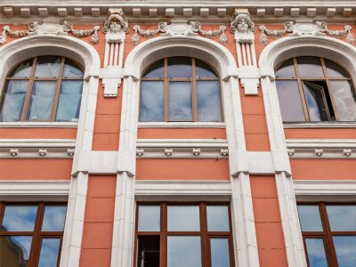 Moscow, Russia, June 15, 2020. Prospect Mira, a fragment of the facade of a typical building