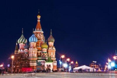 Poster Moskau Basilius-Kathedrale Night Shot