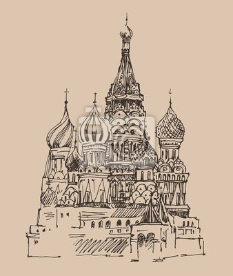 Moskau, Stadtarchitektur, Jahrgang eingraviert Illustration