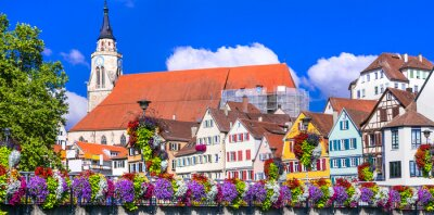 Most colorful places - Tubingen town decoarated by flowers. Germany