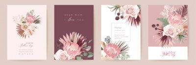 Poster Mothers day floral vector card. Greeting protea flowers, palm leaves template design. Watercolor minimal postcard