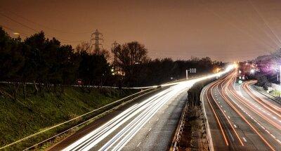 Poster Motorway Lights On Highway At Dusk