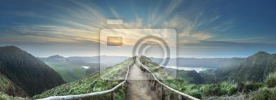 Poster Mountain landscape Ponta Delgada island, Azores Portugal