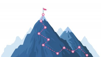 Poster Mountain progression path. Climbing progress route, mountain peak overcoming, mountain climbing path with red flag on top vector illustration. Way path infographic, progress way to peak