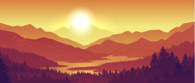 Poster Mountain sunset landscape. Realistic pine forest and mountain silhouettes, evening wood panorama. Vector illustration wild nature background