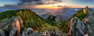 Poster Mountain valley during sunrise. Natural summer landscape in Slovakia