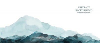Poster Mountains, hills abstract panorama. Blue, grey watercolor wash. Modern minimal abstract background. Landscape painting.
