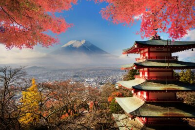 Poster Mt. Fuji mit Farben fallen in Japan.