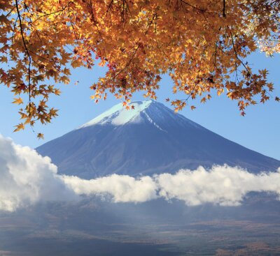 Poster Mt. Fuji with fall colors in Japan