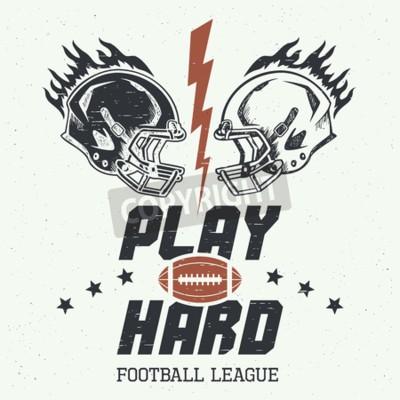 Poster Mühevoll spielen. American Football oder Rugby-Motivation Illustration mit Steuerelementen im Vintage-Stil
