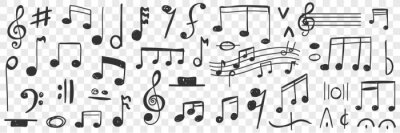 Poster Musical notes drawings doodle set. Collection of hand drawn musical notation with notes treble clef bass clef stave and notes for writing music and education isolated on transparent background